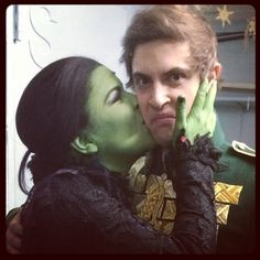 Derek Klena and Lindsay Mendez on the night of Derek's last show with Wicked.