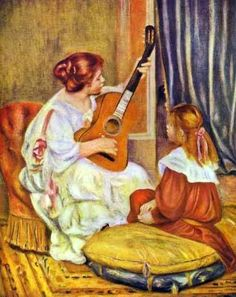 Guitar Lesson by Pierre-Auguste Renoir...this sooo reminds me of me and my baby girl : )))