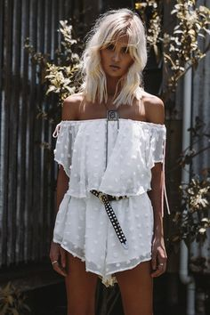 The bold polka frill playsuit is made from a sheer off white overlay with t Summer Outfits Women, Casual Fall Outfits, Spring Outfits, Holiday Outfits, White Lace Romper, White Playsuit, Boutique Fashion, Off Shoulder Fashion, Ootd