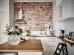 Even the small bit of exposed brick adds character doesn't need to be a big wall