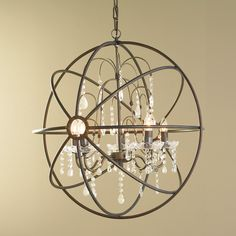 Crystal and Metal Orb Chandelier for the dining room