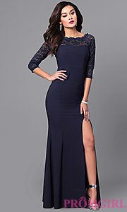 Lace Bateau Neck Prom Dress with 3/4 Lace Sleeves