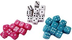 Custom & Unique {Mini Tiny Small 5mm} 30 Ct Pack Set of 6 Sided [D6] Square Cube Shape Playing & Game Dice w/ Rounded Corner Edges w/ Classy Card & Board Game Simple Design [Teal, Pink & White]