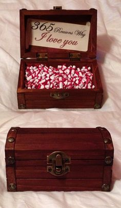 365 Reasons I love you inspired by Game of Thrones!! Each message is a scroll individually tied with red ribbon and placed into a chest (purchased from Hobby Lobby and stained). Perfect gift for anyone you love!