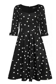 Nádherné šaty, které si vás získají svým originálním vzorem. Černý podklad s bílými puntíky z Vás udělá dámu, kamkoli půjdete - na zahradní slavnosti, na dovolené, ale i třeba v kanceláři. Příjemně řešený dekolt, tříčtvrteční rukávek. Živůtek projmutý, pevný pas, sukně směrem dolů rozšířená. Zapínání na zip v zadní části, lehce strečový materiál (97% polyester, 3% elastan). Pro bohatší objem sukně můžete doplnit spodničkou z naší nabídky. Shirt Dress, Shirts, Dresses, Fashion, Dark Around Eyes, Vestidos, Moda, Shirtdress, Fashion Styles