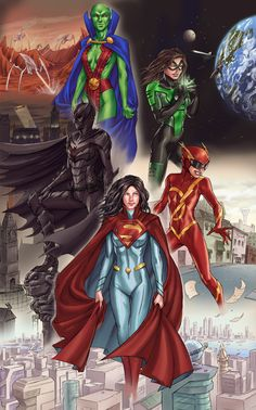 """dcplanet: """" Justice Ladies by robnix """" Very nice rule 63 Justice League. That's a very cool design on Supes. Marvel Dc Comics, Heros Comics, Hq Marvel, Dc Comics Characters, Dc Comics Art, Dc Heroes, Comic Book Heroes, Comic Books Art, Comic Art"""