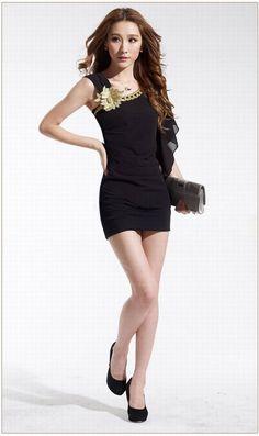 Elegant Flower Decorated Evening Dresses For Women (BLACK,ONE SIZE) China Wholesale - Sammydress.com