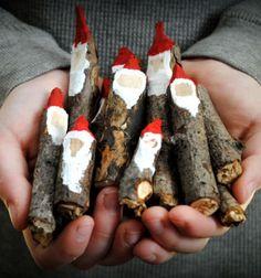 Carwed twig gnomes or santas // Mikulások faágakból // Mindy - craft tutorial collection