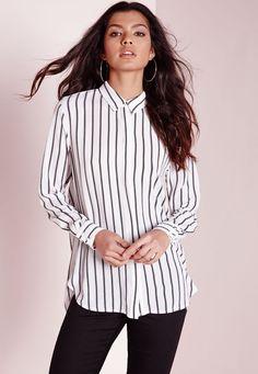 Missguided - Stripe Open Back Shirt