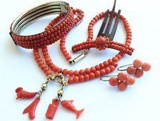 antique undyed genuine coral necklace 14k Gold Coral bracelet set