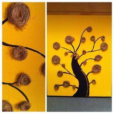 yellow,twine,tree,canvas Canvas Art By Lindsay Hurley www.earthseadesigns.webs.com/ www.facebook.com/earthseadesigns Tree Canvas, Canvas Canvas, Canvas Designs, Hurley, Twine, Frame, Artist, How To Make, Facebook