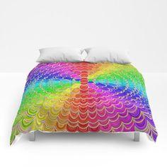 NEW artwork: Colorful Mandala Flower Comforter by David Zydd #homedecor #roomdecor #bed #duvetcover