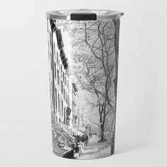Cobble Hill Brooklyn Winter Black and White Brownstone Travel Mug by anoellejay Small Journal, Nature Artwork, Crazy Outfits, Kitchen Essentials, Travel Mugs, Christmas Inspiration, Art For Sale, Stocking Stuffers, Wall Tapestry