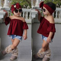 baby girl party dresses Toddler Kids Baby Girl Off Shoulder Tops+Denim Shorts Pants+Headband Outfit Kids Outfits Girls, Little Girl Outfits, Cute Outfits For Kids, Toddler Girl Outfits, Cute Kids Fashion, Baby Girl Fashion, Kids Dress Wear, Baby Girl Party Dresses, Girl Clothing