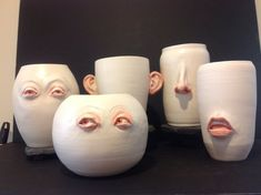 FUNCTIONALLY HUMAN from RosalindShaffer Faces vases humorous sculpture figurative sculpture ceramic sculpture white functional human eyes nose mouth ears Contemporary pottery Ceramic Mugs, Ceramic Pottery, Ceramic Art, Slab Pottery, Ceramic Bowls, Clay Art Projects, Ceramics Projects, Diy Clay, Clay Crafts