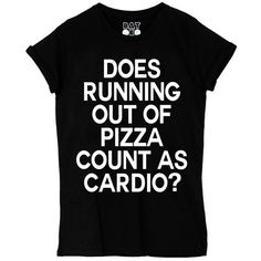 Cardio Tee ($38) ❤ liked on Polyvore featuring tops, t-shirts, shirts, tees, black t shirt, pattern shirts, slogan shirts, t shirts and black top