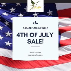 Take advantage of our of July Sale! 30 off all products online code: Fourth jcancandles sale candlesale discount coupons couponing candlelight soucandles bigdeal deals sale candleshop homedecor handmade supportblackbusinesses buyblack Candles For Sale, Deal Sale, Candle Shop, Discount Coupons, Online Sales, Insta Saver, Nursery Decor, 4th Of July, All Things