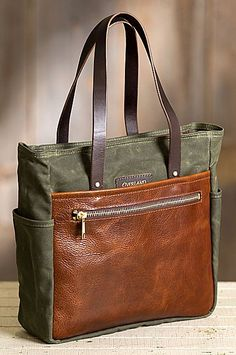 e9df5d0c2d Weatherproof 18 oz. waxed canvas pairs with our American bison leather for  an exceptional tote
