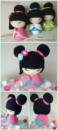 Crochet Amigurumi Japanese Doll Kokeshi Free Pattern - Crochet Doll Toys Free Patterns by DeeDeeBean