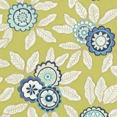 Eden Wallpaper - Indigo/Lime (110679) - Harlequin Jardin Boheme Wallpapers Collection