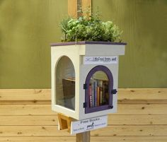 Will your Library be surrounded by sand in Arizona or stand as an art-deco addition to your community garden? You can use this clever rooftop adaptation as a planter for cactus or perennials, house plants or a miniature landscape garden of its own . Little Free Library Plans, Little Free Libraries, Little Library, Library Inspiration, Library Ideas, Street Library, Mini Library, Library Books, Lending Library