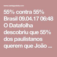55% contra 55%  Brasil 09.04.17 06:48 O Datafolha descobriu que 55% dos paulistanos querem que João Doria continue na prefeitura até o fim do mandato. E que 55% estariam dispostos a votar nele para presidente da República. A maioria mais importante, do ponto de vista político, é a segunda.