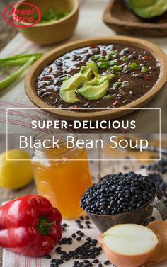Delight your tastebuds with this Super-Delicious Black Bean Soup recipe! Not only is it super simple, but hearty and extra delicious. Top with scallions, avocado, corn kernels and enjoy!