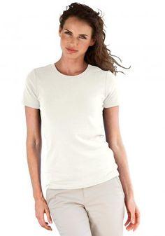 T-Shirt mit Rundhalsausschnitt Elfenbein | M (38/40) non-see through?
