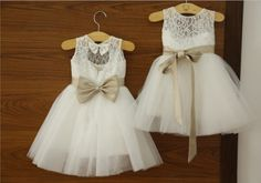 Ivory Lace Flower girl Dress Baby Girl Dress with Navy Blue/Champagne Sash Bow Keyhole Back Dress