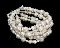 ISABELLA - Rhinestone and Swarovski Pearl Bridal Bracelet in silver, Handmade by OliniBridal.com in USA. Pick Your Pearl color and Finish, Free shipping
