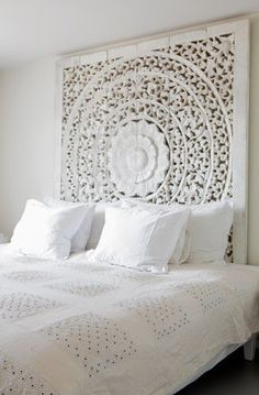 Large White Headboard Or Wall Art Panel, Wall Hanging Decorative From Thailand. Asian Home Decor. King Bed Headboard, White Headboard, Panel Headboard, King Comforter, Comforter Sets, White Bedroom Design, White Interior Design, Contemporary Interior, Cool Headboards