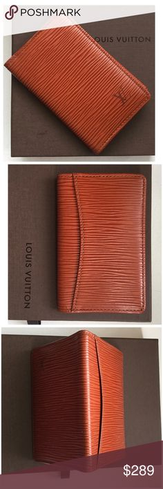 LOUIS VUITTON Epi Wallet Organizer de Poche Pocket Authentic LOUIS VUITTON Epi de Poche Pocket Organizer In Brown Neutral and classic color -  This stylish card case is in outstanding pristine condition crafted of Louis Vuitton signature textured epi leather. The case opens in a folder style to a leather interior with a patch pocket and 3 card slots with an exterior flat slot. This is a marvelous card holder that is practical and chic, from Louis Vuitton! It comes as a complete set with LV…