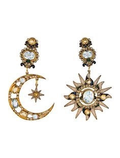 Percossi Papi Topaz, Citrine & Pearl Sun & Moon Drop Earrings – Earrings – – Jewelry And Accessories 14k Gold Jewelry, Moon Jewelry, Turquoise Jewelry, Gothic Jewelry, Vintage Jewelry, Jewelry Gifts, Jewelry Box, Jewelry Accessories, Jewelry Design