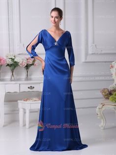 128.00$  Buy now - http://vidhf.justgood.pw/vig/item.php?t=ci0sa4j30701 - Royal Blue V-neck Floor Length Prom Dresses With Sleeve