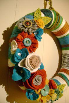 Yarn and Felt Flower Wreath- 14in- Retro Ruth