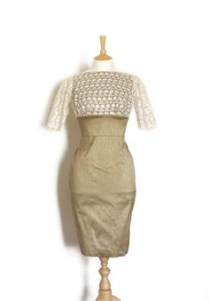 Taupe Silk Dupion and Lace Overlay Alternative Wedding Dress with a Pencil Skirt