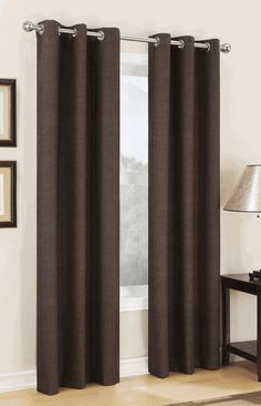 Carter is a faux linen pattern thermal room darkening drapery with easy to hang stainless steel grommets, enhance the appearance of your window decor with these easy to hang grommet curtains.
