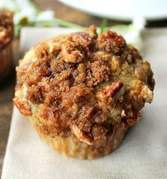 Banana Muffins with Crumb Topping - Bunny's Warm Oven leave out pecans, maybe add chocolate chips?