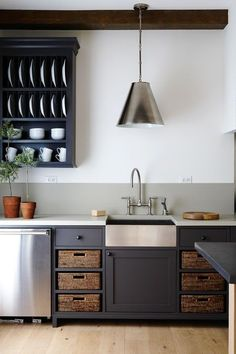 Dark Painted Grey Kitchen Cabinets