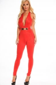 RED HALTER DEEP PLUNGE NECK OPEN BACK STRAIGHT LEG JUMPSUIT WITH GOLD PLATED WAIST BELT
