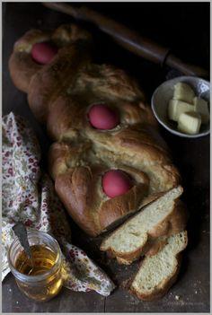 "Tsoureki - Greek Easter Bread with Symbolic ""Blood"" Eggs - Thyme"