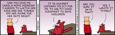 Catbert Will Not Help Children - Dilbert by Scott Adams  (Feb/19/2016)