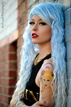 #bluehair #wig #limecrime #model #modeling #photography #tattoos #tattoo #girlytattoo #barbie #barbietattoo #lipstick #makeup
