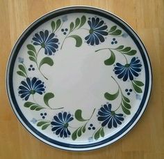 Dansk Sage Song Dinner Plate Blue Green Large Raised Rim