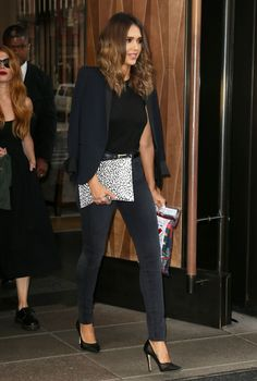 Jessica Alba looking chic in all black