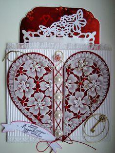 carte cœur en pergamano