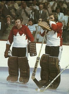 Team Canada goaltenders Tony Esposito and Ken Dryden, Summit Series Hockey Goalie, Hockey Games, Ice Hockey, Kings Hockey, Montreal Canadiens, Ken Dryden, Hockey Boards, Goalie Mask, Of Montreal