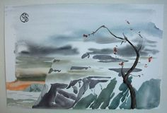 Two landscapes in one painting. Watercolor, brush, paper.  1994 year, Koreiz.