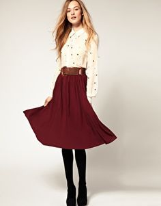 midi skirt with tights