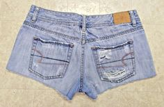 American Eagle Denim Shorts Jean Distressed Cut Off Fray Women's Size 4 #AmericanEagleOutfitters #Denim